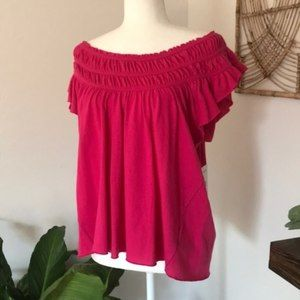 NWT We The Free People hot pink off the shoulder